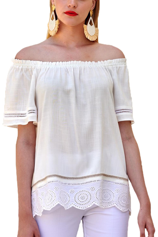 Γυναικεία Μπλούζα DERPOULI 1.10.25414 Άσπρη