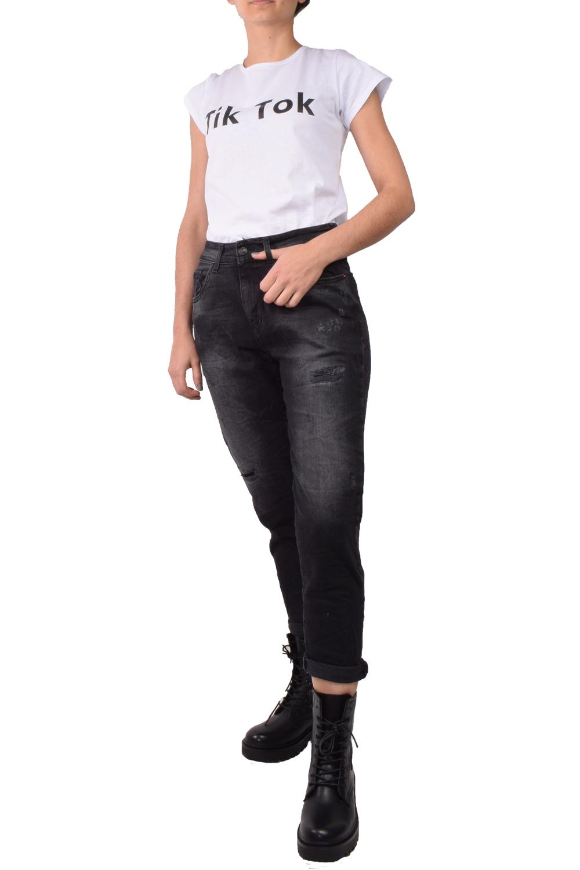 Γυναικείο Παντελόνι Τζιν DAMAGED Y11 Μαύρο