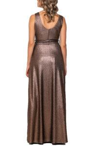 Φόρεμα Lurex Κρουαζέ με Δέσιμο στη Μέση BELLINO 21.11.2351 Καφέ